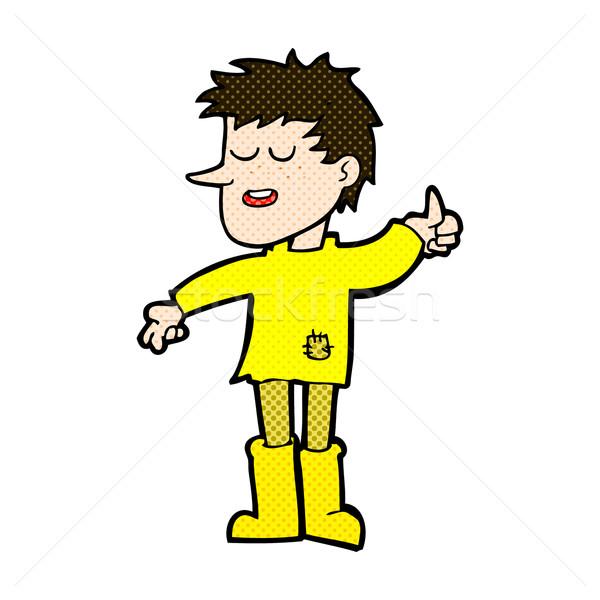 Komische cartoon arme jongen positieve houding retro Stockfoto © lineartestpilot