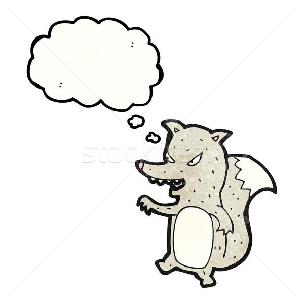 Pequeno lobo desenho animado versão textura mão Foto stock © lineartestpilot
