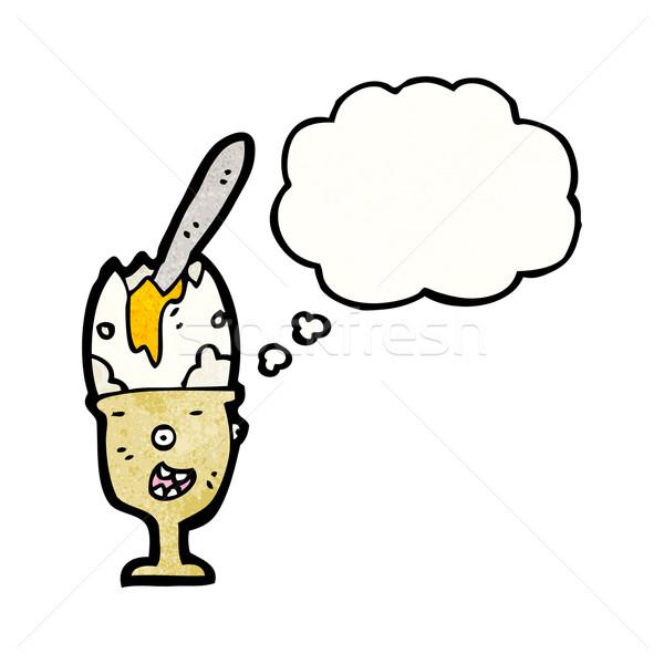 漫画 エッグカップ テクスチャ 手 幸せ 思考 ストックフォト © lineartestpilot
