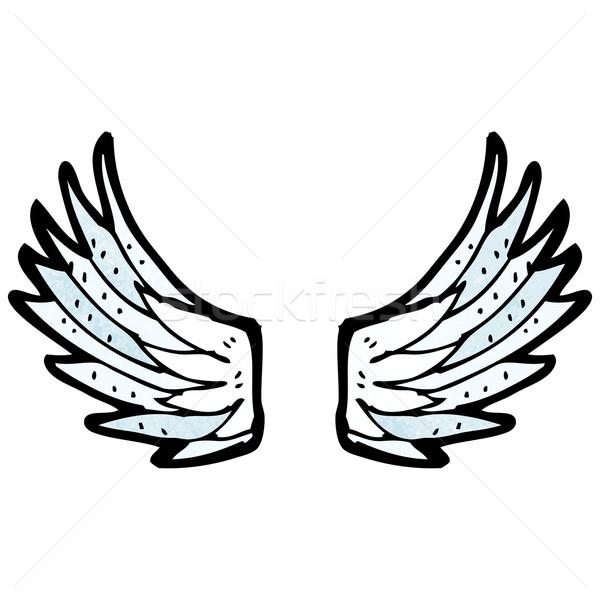 Rajz angyalszárnyak beszél retro szárnyak rajz Stock fotó © lineartestpilot