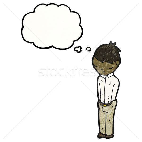 Karikatür utangaç adam Retro düşünme çizim Stok fotoğraf © lineartestpilot