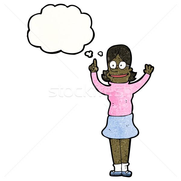 Zeki kadın karikatür Retro kadın çizim Stok fotoğraf © lineartestpilot