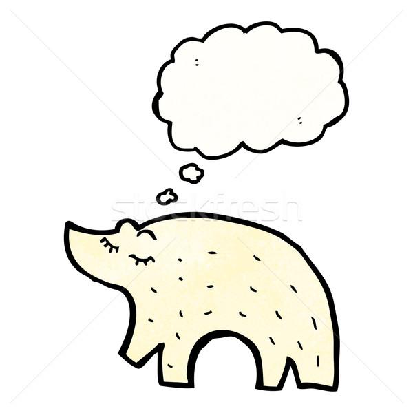 Desenho animado urso polar retro tenha balão desenho Foto stock © lineartestpilot