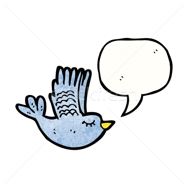 flying bird with speech bubble Stock photo © lineartestpilot