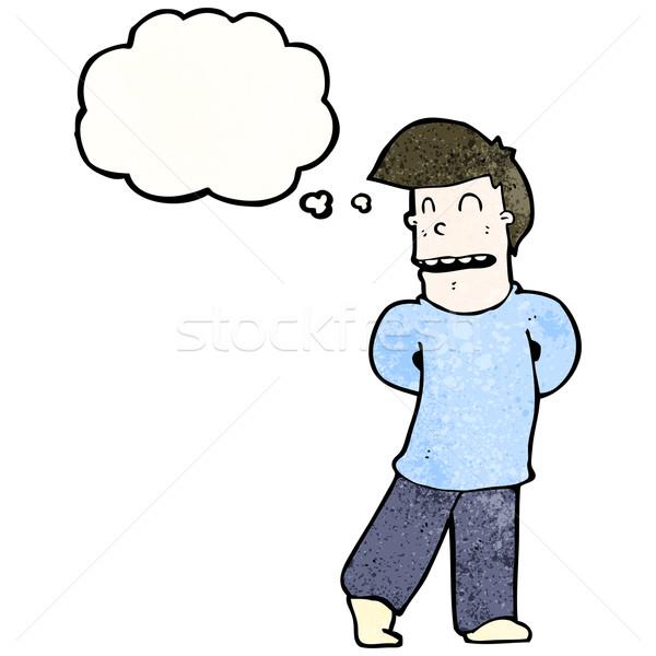 Cartoon nieśmiała człowiek retro balon rysunek Zdjęcia stock © lineartestpilot