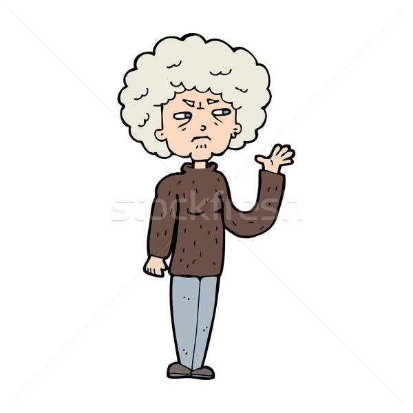 Cartoon agacé vieille femme femme design Photo stock © lineartestpilot