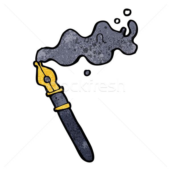Desenho animado caneta-tinteiro projeto arte retro engraçado Foto stock © lineartestpilot
