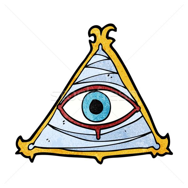 Desenho animado místico olho símbolo mão projeto Foto stock © lineartestpilot