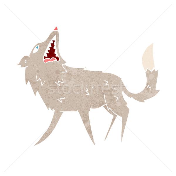 Cartoon волка стороны дизайна животные Crazy Сток-фото © lineartestpilot