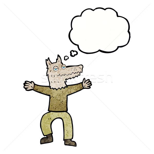 Cartoon волка человека мысли пузырь стороны дизайна Сток-фото © lineartestpilot