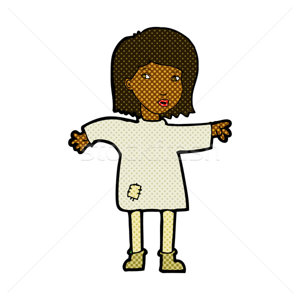 comic cartoon woman in patched clothing Stock photo © lineartestpilot