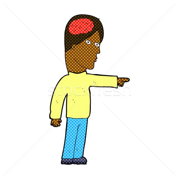 Cómico Cartoon inteligente hombre senalando retro Foto stock © lineartestpilot