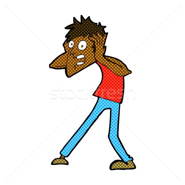 comic cartoon man panicking Stock photo © lineartestpilot