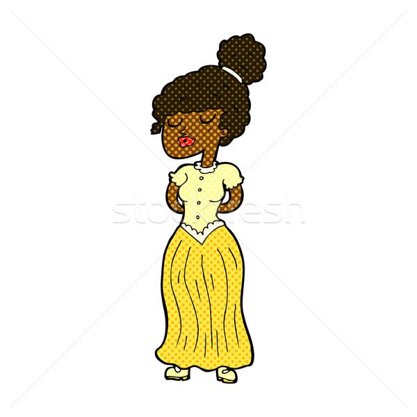 comic cartoon pretty victorian woman Stock photo © lineartestpilot