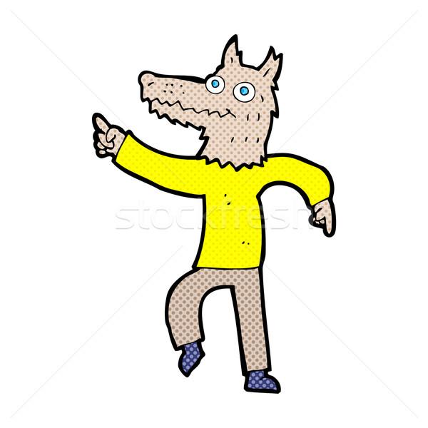 Komiks cartoon wilk człowiek retro komiks Zdjęcia stock © lineartestpilot