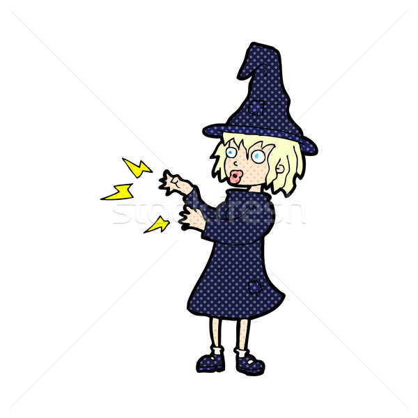 comic cartoon witch casting spell Stock photo © lineartestpilot