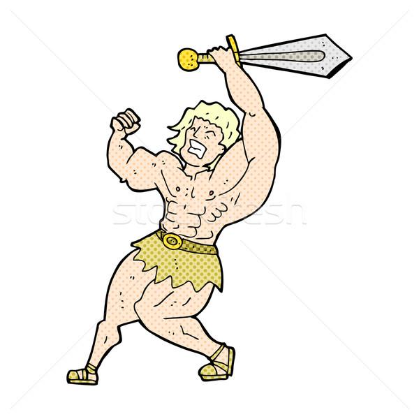 Stock photo: comic cartoon barbarian hero