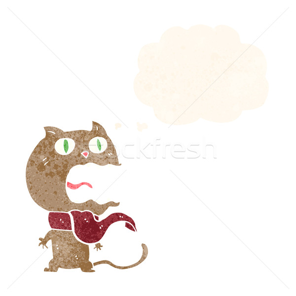 Cartoon asustado gato burbuja de pensamiento mano diseno Foto stock © lineartestpilot