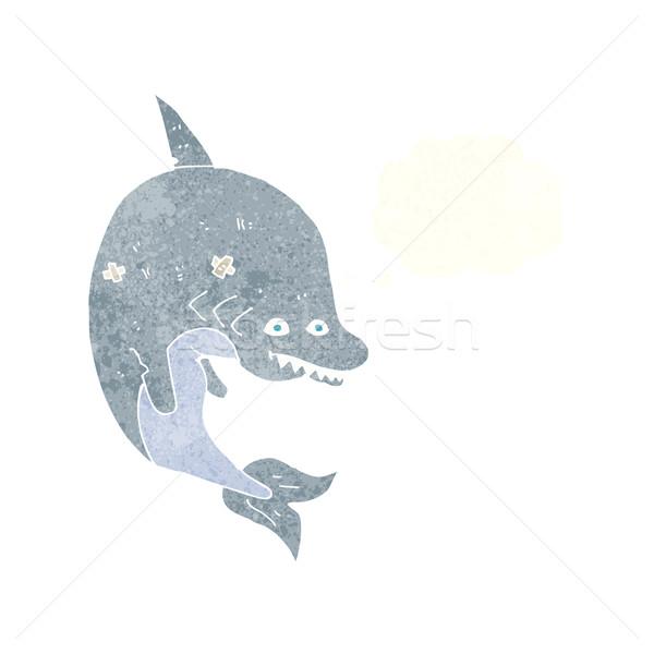 Karikatür köpekbalığı düşünce balonu el dizayn sanat Stok fotoğraf © lineartestpilot