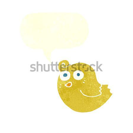 Desenho animado pássaro balão de pensamento mão projeto louco Foto stock © lineartestpilot