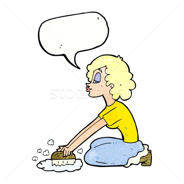 cartoon woman scrubbing floor with speech bubble Stock photo © lineartestpilot
