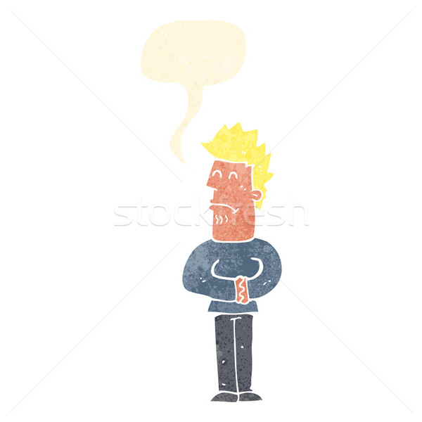 Cartoon nerveux homme bulle main design Photo stock © lineartestpilot