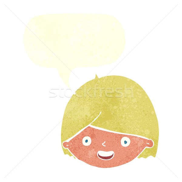 Cartoon blij gezicht tekstballon hand gezicht gelukkig Stockfoto © lineartestpilot