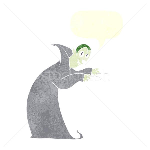 Desenho animado assustador vampiro balão de fala mão projeto Foto stock © lineartestpilot