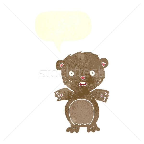 Bange teddybeer cartoon tekstballon hand ontwerp Stockfoto © lineartestpilot
