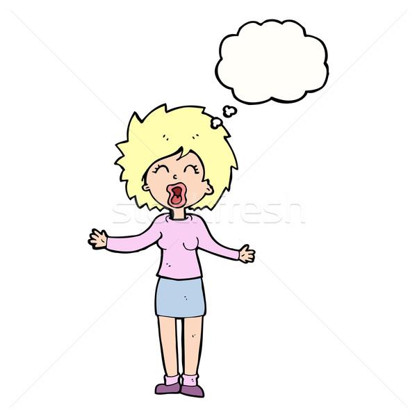 Cartoon громко женщину мысли пузырь стороны дизайна Сток-фото © lineartestpilot