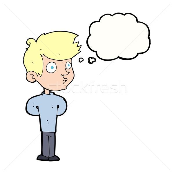 Cartoon jongen staren gedachte bel hand man Stockfoto © lineartestpilot