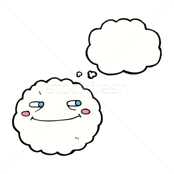 Desenho animado feliz nuvem balão de pensamento mão projeto Foto stock © lineartestpilot