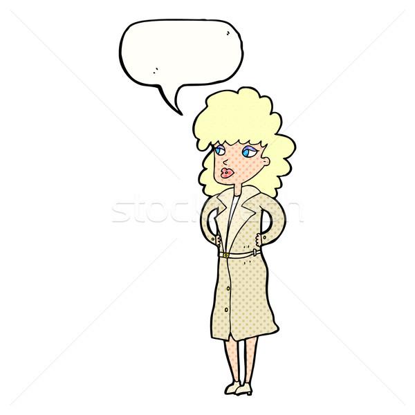 Cartoon женщину окоп пальто речи пузырь стороны Сток-фото © lineartestpilot