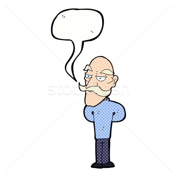 Cartoon старик усы речи пузырь стороны человека Сток-фото © lineartestpilot