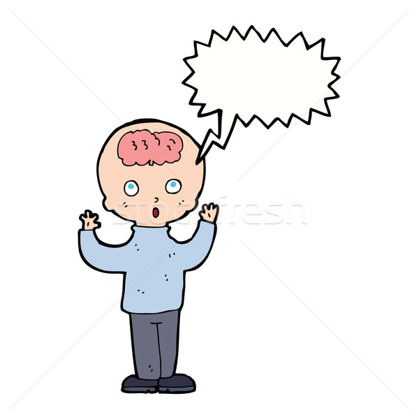 cartoon genius with speech bubble Stock photo © lineartestpilot