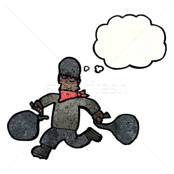Karikatür banka soyguncu adam konuşma Retro Stok fotoğraf © lineartestpilot