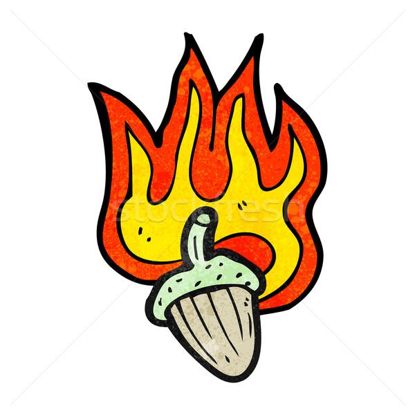 Brandend eikel symbool natuur teken retro Stockfoto © lineartestpilot