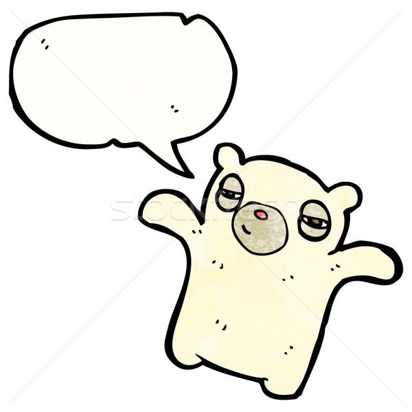 Desenho animado cansado urso polar retro desenho bonitinho Foto stock © lineartestpilot