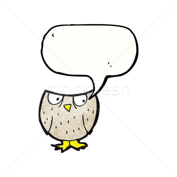 hooting little owl cartoon Stock photo © lineartestpilot