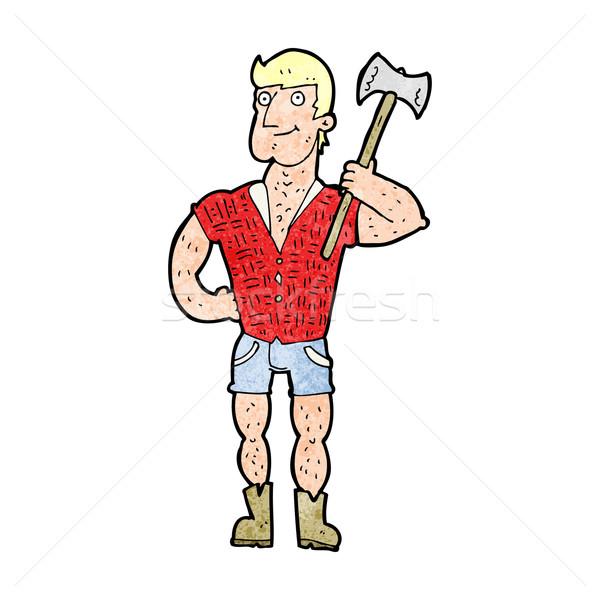 Desenho animado lenhador mão homem projeto louco Foto stock © lineartestpilot