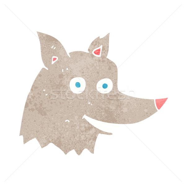 Cartoon wolf hoofd hand ontwerp gek Stockfoto © lineartestpilot