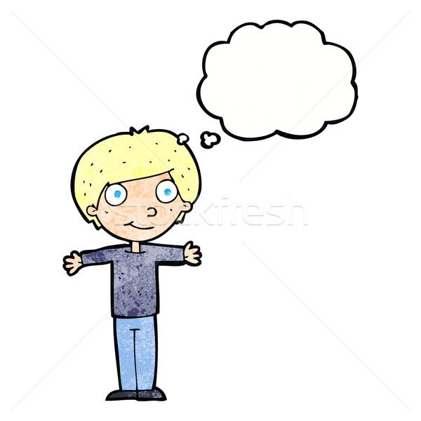 Cartoon abierto armas burbuja de pensamiento mano Foto stock © lineartestpilot