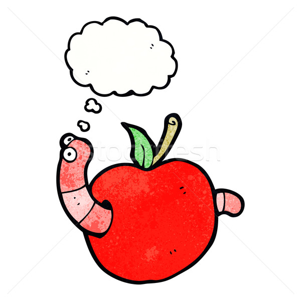 cartoon worm in apple with thought bubble Stock photo © lineartestpilot