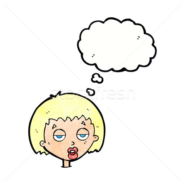 Cartoon annoiato donna bolla di pensiero mano design Foto d'archivio © lineartestpilot