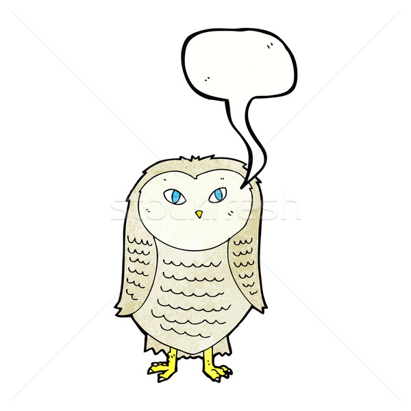 Cartoon uil tekstballon hand ontwerp gek Stockfoto © lineartestpilot