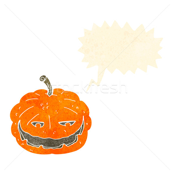 cartoon halloween pumpkin with speech bubble Stock photo © lineartestpilot