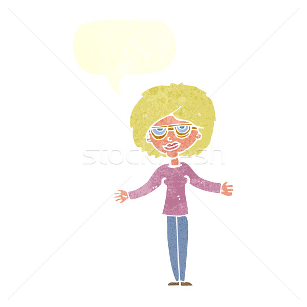 cartoon woman wearing spectacles with speech bubble Stock photo © lineartestpilot