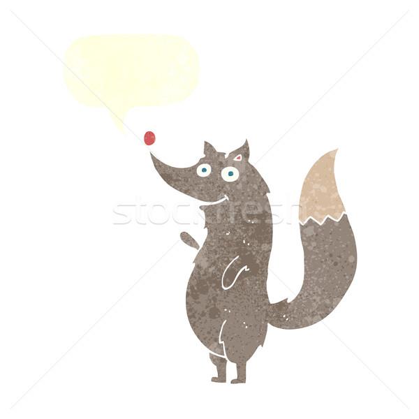 Cartoon волка речи пузырь стороны дизайна Сток-фото © lineartestpilot