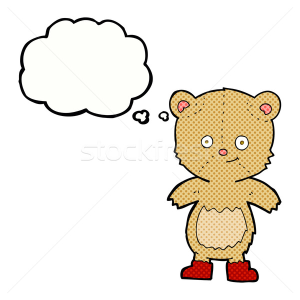 Desenho animado bonitinho ursinho de pelúcia balão de pensamento mão projeto Foto stock © lineartestpilot