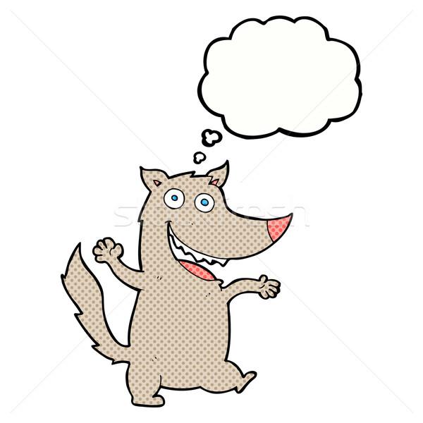 Cartoon heureux loup bulle de pensée main design Photo stock © lineartestpilot